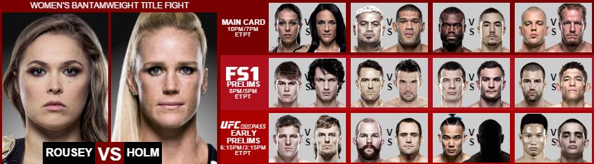 UFC card